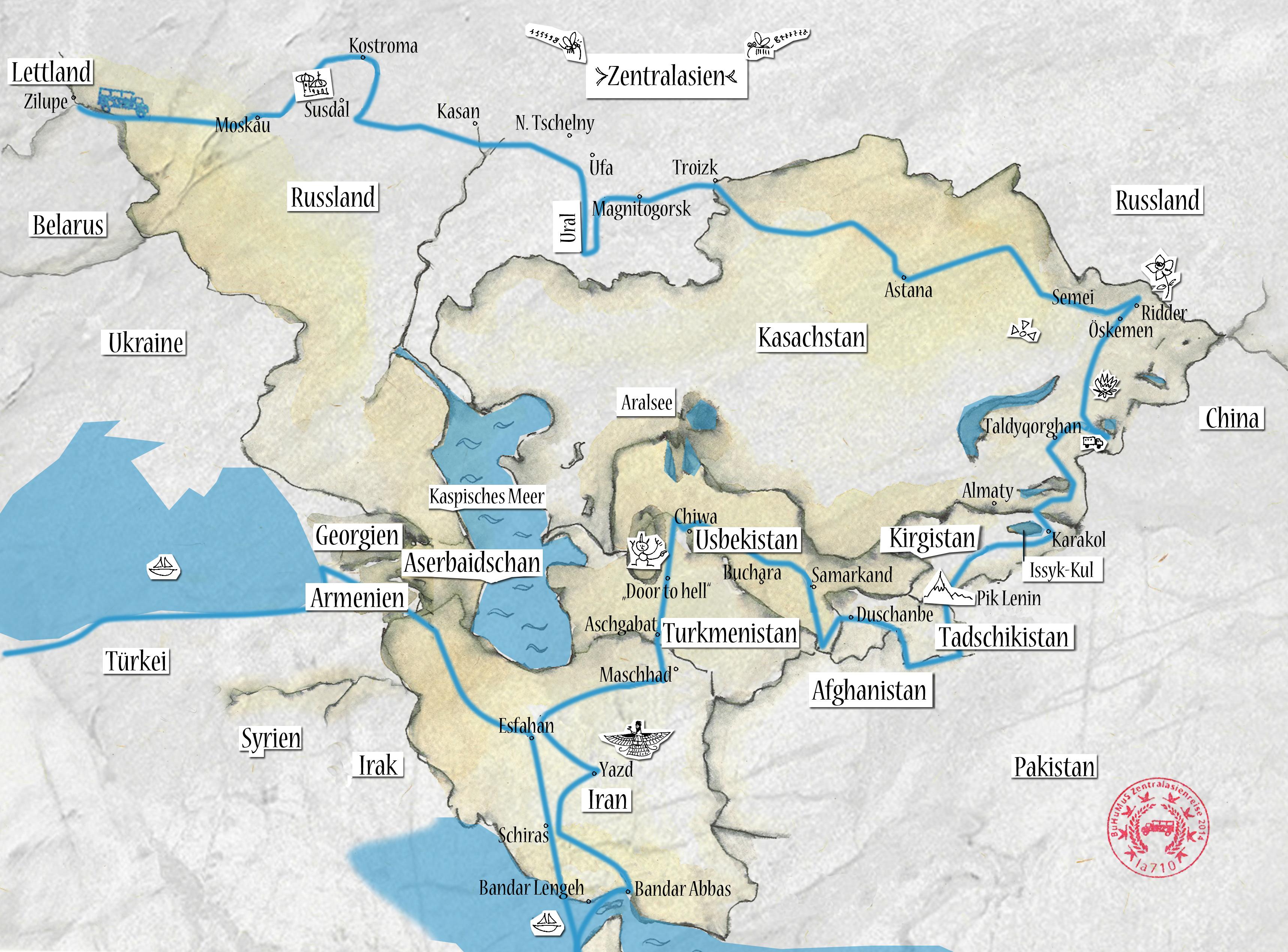 Reiseroute Frau Scherer Zentralasien